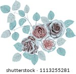 ice roses _ stylized vector... | Shutterstock .eps vector #1113255281