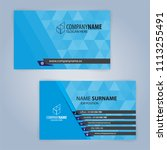 business card template. blue... | Shutterstock .eps vector #1113255491