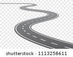 vector curved road with white... | Shutterstock .eps vector #1113258611