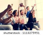 friends cheering sport league... | Shutterstock . vector #1113275951