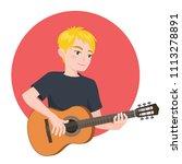musician playing guitar. blonde ...   Shutterstock .eps vector #1113278891