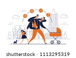 man with task icons around head ... | Shutterstock .eps vector #1113295319