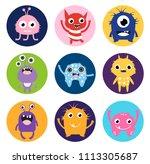 cute vector monster stickers or ... | Shutterstock .eps vector #1113305687