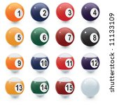 a set of glossy pool balls all... | Shutterstock .eps vector #11133109