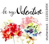 gerber and hydrangea flowers... | Shutterstock . vector #1113313454