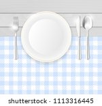 top view of table with blue... | Shutterstock .eps vector #1113316445