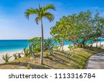 ie beach is a white long beach... | Shutterstock . vector #1113316784