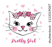 hand drawn cute cat with flower ... | Shutterstock .eps vector #1113319007