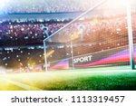 stadium soccer goal or football ... | Shutterstock . vector #1113319457