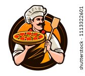 pizzeria  fast food logo or... | Shutterstock .eps vector #1113322601