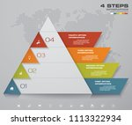 4 steps pyramid with free space ... | Shutterstock .eps vector #1113322934