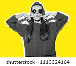 beautiful crazy smiling... | Shutterstock . vector #1113324164