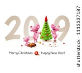 banner with family of pig ...   Shutterstock .eps vector #1113337187