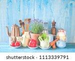 vintage kitchen utensils and... | Shutterstock . vector #1113339791