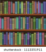 seamless library shelves with... | Shutterstock . vector #1113351911