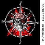 pirate symbol jolly roger skull ...   Shutterstock .eps vector #1113358709