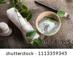 facial mask of birch leaves.... | Shutterstock . vector #1113359345