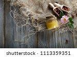 wild rose hip honey in a glass... | Shutterstock . vector #1113359351