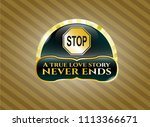 gold shiny emblem with stop... | Shutterstock .eps vector #1113366671