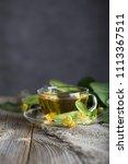 linden blossoms tea in a glass... | Shutterstock . vector #1113367511