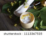 face cream with linden blossoms.... | Shutterstock . vector #1113367535