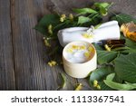 face cream with linden blossoms.... | Shutterstock . vector #1113367541