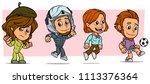 cartoon funny boy and girl... | Shutterstock .eps vector #1113376364