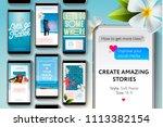 editable instagram stories... | Shutterstock .eps vector #1113382154