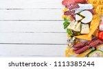 assortment of sausage  cheese...   Shutterstock . vector #1113385244