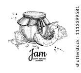 pumpkin jam glass jar vector... | Shutterstock .eps vector #1113399581