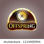 gold badge with weightlifting ...   Shutterstock .eps vector #1113400904