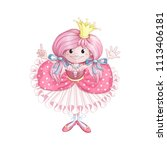 a little princess with a crown... | Shutterstock .eps vector #1113406181