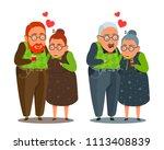 older man and woman hugging ...   Shutterstock .eps vector #1113408839