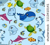 cute kids fish pattern for... | Shutterstock . vector #1113410141
