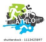 triathlon race icons... | Shutterstock .eps vector #1113425897