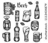 hand drawn beer set vintage... | Shutterstock .eps vector #1113434879