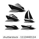 set of different boats and... | Shutterstock .eps vector #1113440114