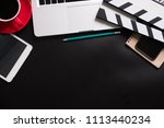 office stuff with movie clapper ... | Shutterstock . vector #1113440234