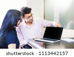 indian man and woman in office... | Shutterstock . vector #1113442157