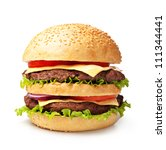Double Hamburger Isolated On...