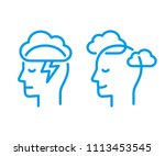 head profile with storm cloud... | Shutterstock .eps vector #1113453545