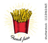 hand drawn doodle french fries... | Shutterstock .eps vector #1113461465