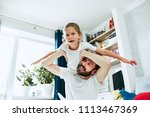 the happy father and his six...   Shutterstock . vector #1113467369