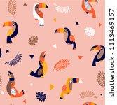 summer paradise toucan vector... | Shutterstock .eps vector #1113469157