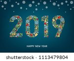 2019 happy new year greeting... | Shutterstock .eps vector #1113479804