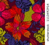 exotic bright print design with ... | Shutterstock .eps vector #1113492914