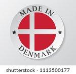 made in denmark with flag... | Shutterstock .eps vector #1113500177