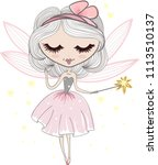 a small  pretty fairy with a... | Shutterstock .eps vector #1113510137
