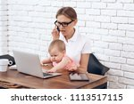 youn business lady try to work...   Shutterstock . vector #1113517115