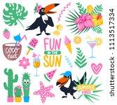 vector summer set with cartoon... | Shutterstock .eps vector #1113517334